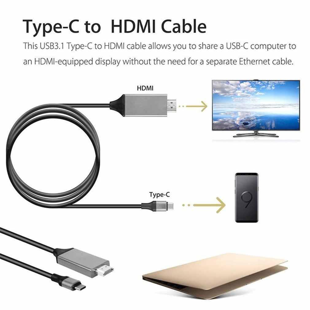 نوع C USB-C إلى HDMI HDTV 4K كابل لسامسونج لمجرة نوت 8 9 S10 + Plus