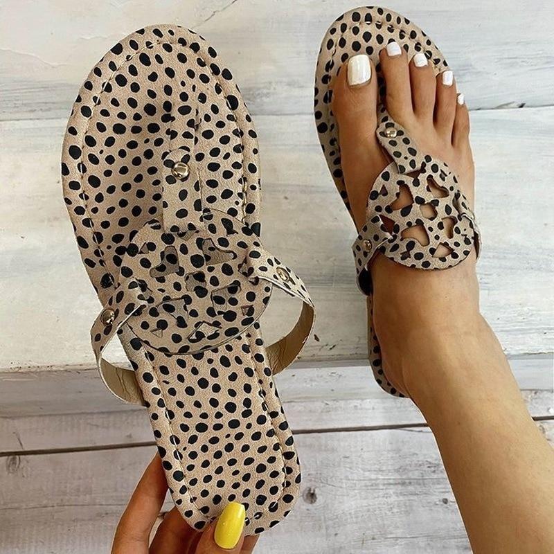 women summer new fashion women sandals flat slippers leopard print summer shoes sandals beach leather sandals retro sandals