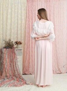 Image 3 - כתונת לילה נשים הלבשת רופפת שמלת קיץ תחרה תחרה כותנה כתונת לילה ורוד לבן ירוק כותונת 6 צבע
