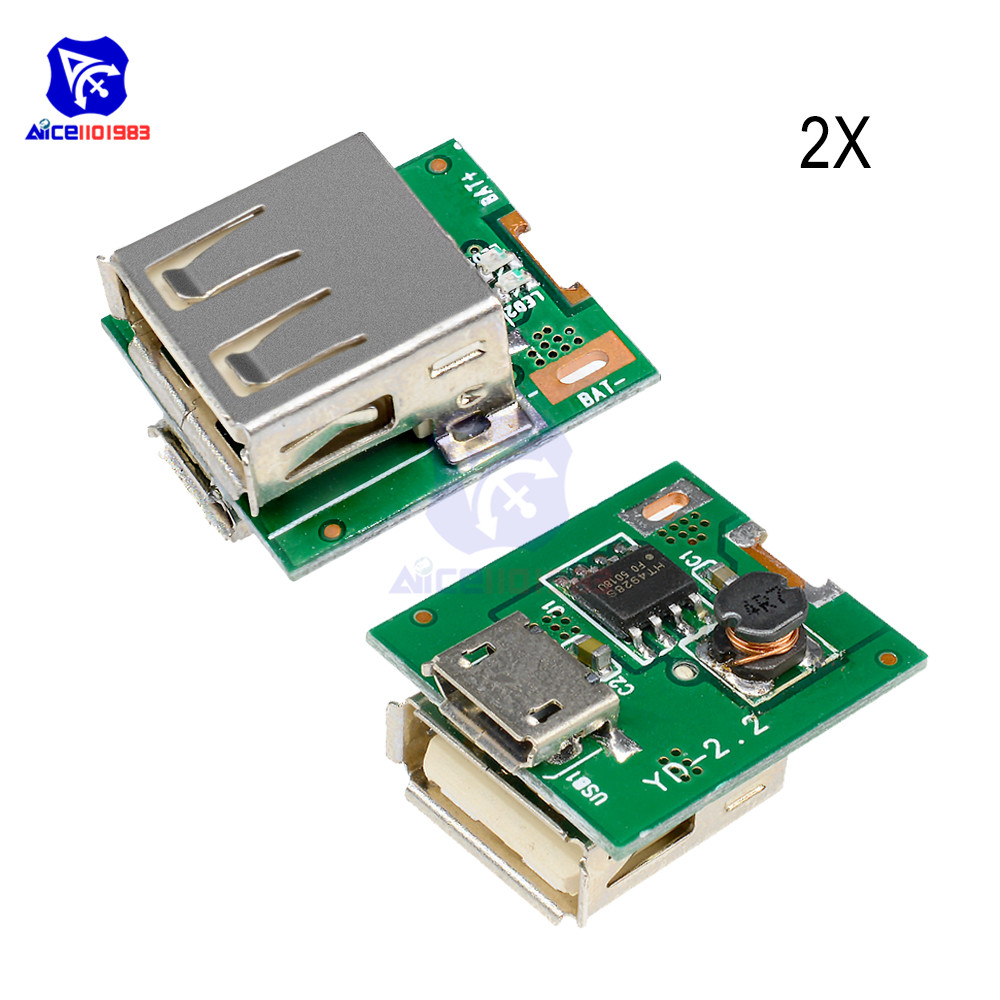 2PCS 5V Power Supply Module Lithium Battery Charging Protection Board Step Up Boost Converter LED Display MICRO USB DIY Charger