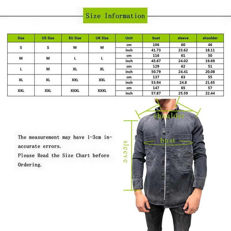 2019 גברים של ג 'ינס Demin מעילי מעיל אופנה Ripped אמצע צווארון רוכסן מעילי כושר חולצות Demin הבוקרים מעיל Streetwears