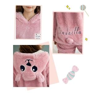 Image 4 - JULYS SONG Cute Winter Flannel Pajamas Set Womens Sleepwear Thick Plush Animal Cartoon Warm Girl Plus Velvet Hooded Homewear