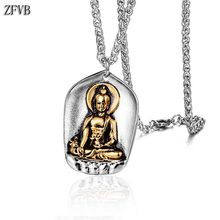 ZFVB Religious Buddha Necklace Men Vintage Jewelry Stainless steel Buddhism Protector Pendant Necklaces Male Party Gift