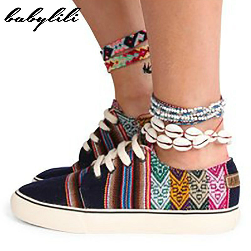 Babylili Casual Flat Shoes Women Sneakers Lace Up Female Canvas Shoes Ethnic Style Autumn Breathable Comfortable Light Durable