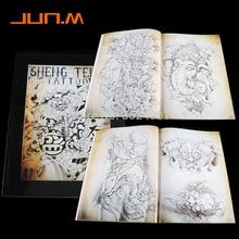Newest-Japanese-Traditional-TOP-Tattoo-Flash-Book-Buddha-Ganesh-KOI-Hannya A4 43Pages mixed colour tattoo flash book a3 dragon warrior koi