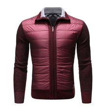 2019 autumn and winter plus velvet thick casual sweater mens lapel zipper cardigan warm vest jacket coat