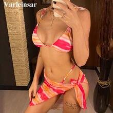 Bikini colorido con lazo de leopardo para mujer, traje de baño femenino, conjunto de Bikini de tres piezas con Sarong, V2762