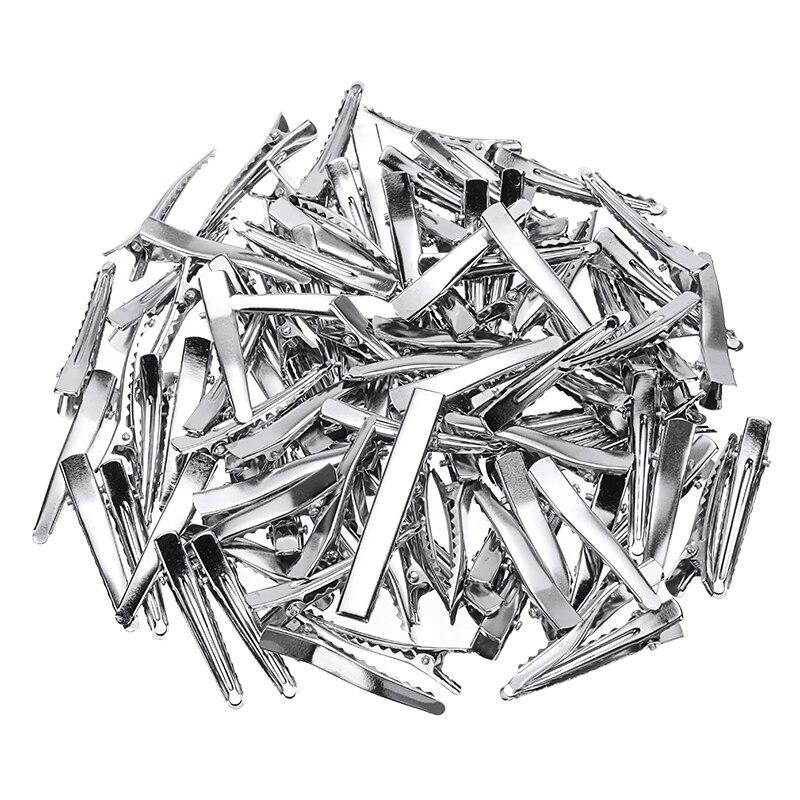 100 шт 45 см серебристые металлические зажимы для волос с аллигатором