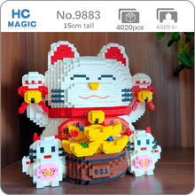 HC Lucky Fortune Cat Piggy Bank Money Box Animal Pet 3D Model DIY Mini Diamond Blocks Bricks Building Toy for Children no Box