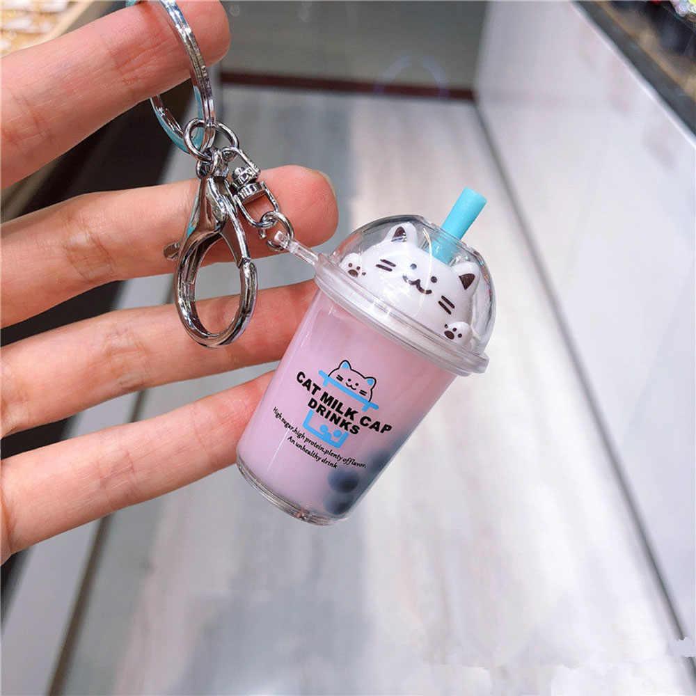 Nowy brelok kot kreskówkowy brelok do kluczyków samochodowych Mini filiżanka do mleka i herbaty płynny kryształ Quicksand cekiny klucz brelok do torebki wisiorek dla kobiet