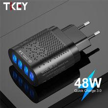 Tkey 48w 4 portas usb carregador ue eua plug 3a carga rápida 4.0 3.0 qc4.0 pd3.0 rápido carregador do telefone móvel para iphone xiaomi sumsung