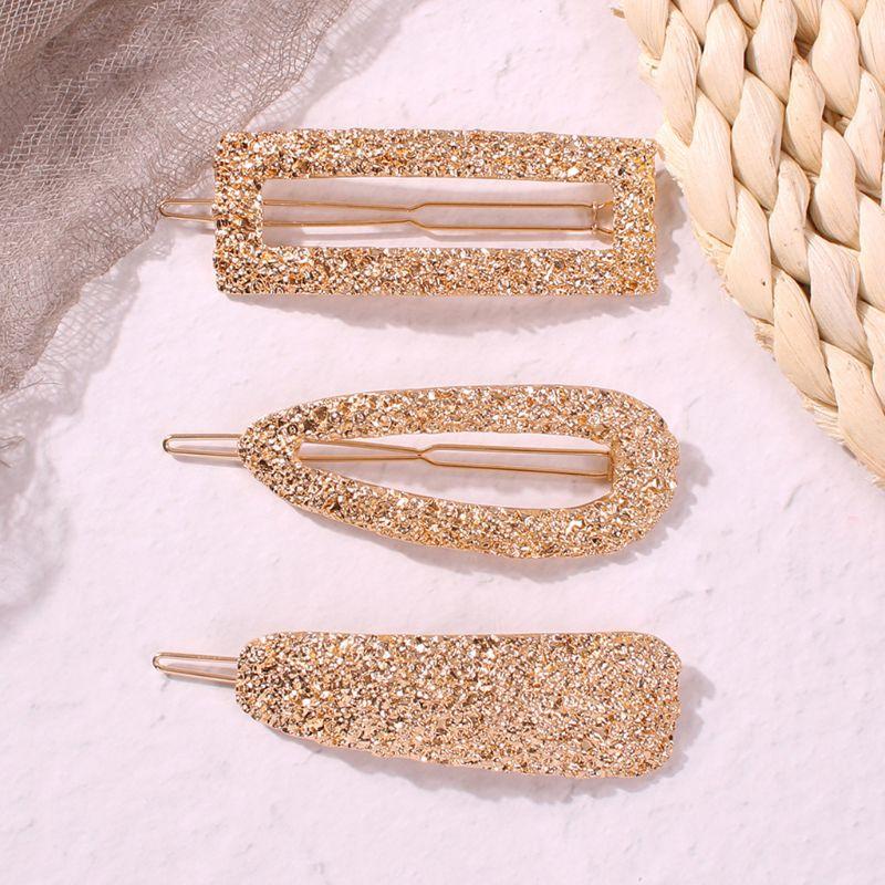 3 Pcs/set Fashion Alloy Texture Geometric Hair Clip Simple Women Headwear Hairpin Girls Lady Barrette Hair Accessories Y4QB
