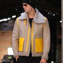 Nueva ropa de invierno de piel auténtica para hombre, piel de oveja auténtica para hombre, ropa de abrigo de invierno para hombre rojo