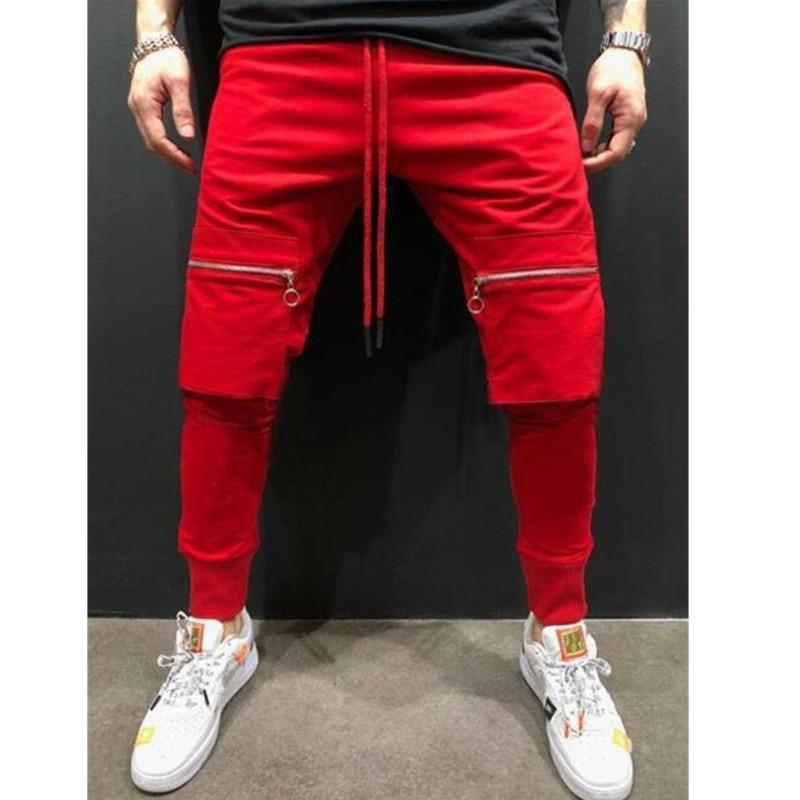 New Spring Sportswear Mens Pants Elastic Waist Sweatpants Loose Pockets Male Pants Joggers Casual Pants Men