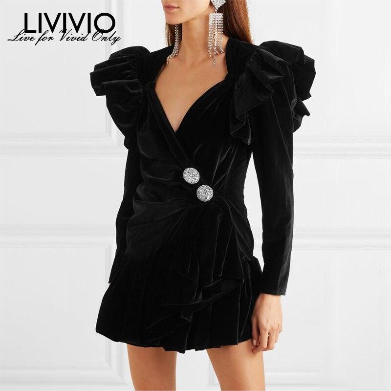 [LIVIVIO] velours à volants à manches longues Sexy col en V boutons de diamant taille froncée Mini robes femmes 2019 femme automne mode