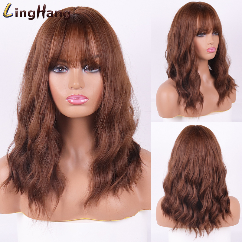 LINGHANG Brown To Blonde Ombre Synthetic Wave Wigs With Bangs Medium Length Wigs For Women Wavy Cosplay Hair Wigs Heat Resistant