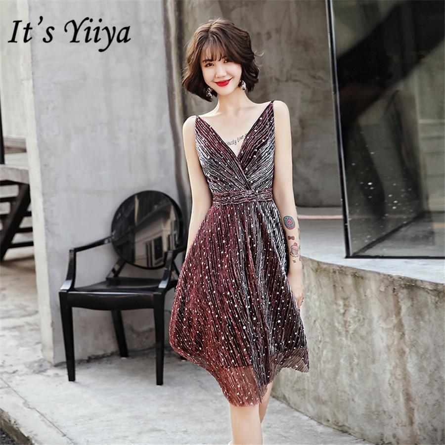 It's Yiiya   Prom     Dresses   Elegant V-neck Shining Sequins vestidos de gala Pleat Knee Length Women Formal   Dress   Plus Size E1392