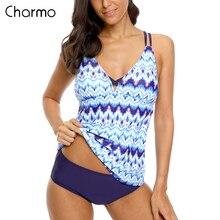 Charmo Swimsuit Swimwear Women Halter Tankini Set Two Piece Vintage Floral Printed Push Up Sexy Bikini Hollow Back Bathing Suit open back halter frill trim tankini set