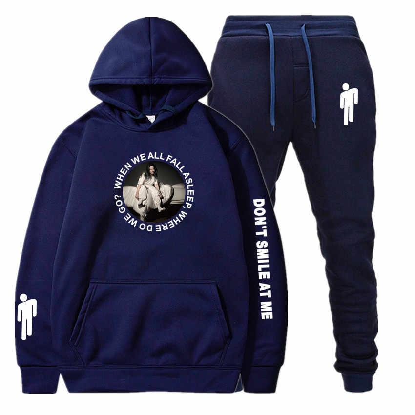 Billie Eilish nowy jednokolorowy dres mężczyźni moda męska odzież sportowa zestawy dwuczęściowe cały bawełniany polar gruba bluza z kapturem + spodnie zestawy
