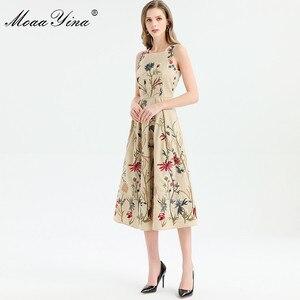 Image 5 - MoaaYina ファッションデザイナードレス春夏の女性はノースリーブ花刺繍エレガントなミディドレス