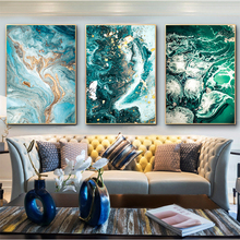 Green Blue Ocean River Fluid Abstract Wall Art Canvas Painting Nordic Poster Wall Pictures For Living Room Decorative Unframed parrot canvas poster rose nordic wall art print wall pictures for living room flower poster nature decorative painting unframed