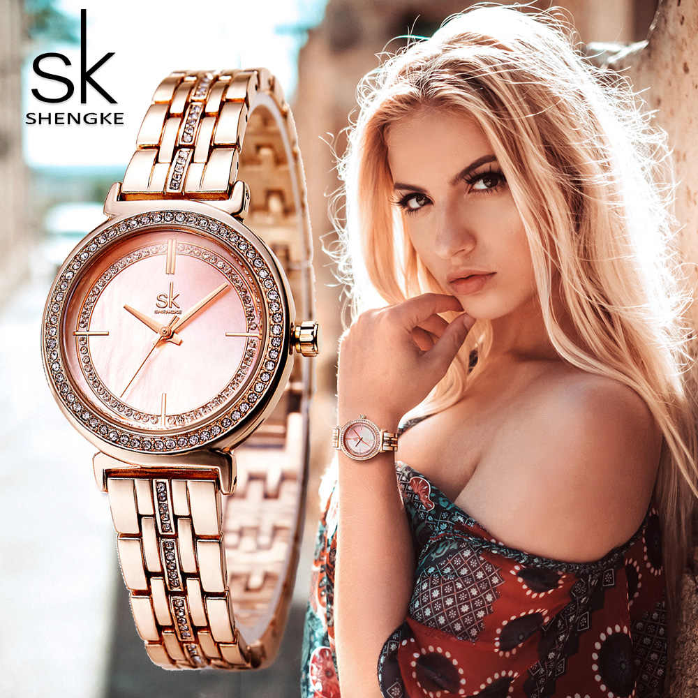 ShengKe Brand Luxury Rose Gold Women Watch Elegant Dress Rhinestone Wristwatch Minimalism Casual Business Quartz Watch for Lady