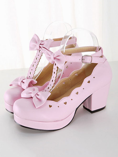 Sweet Lolita Shoes Pink Chunky Heel Square Toe Bows PU Lolita Pump Shoes