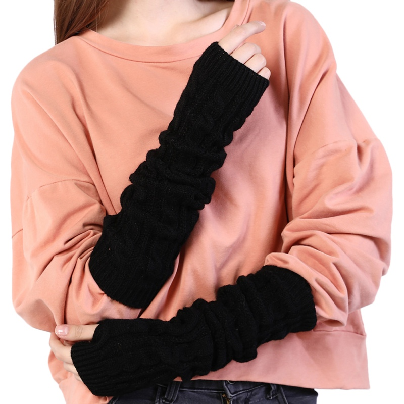Sleeve Hand Warmer Mittens Women Fingerless Gloves Winter Knit Arm Wrist Warmers