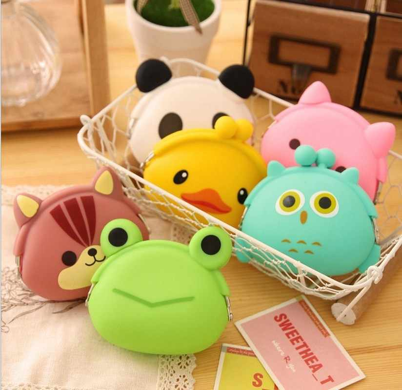 2019 New Girls Mini Silicone Coin Purse Animals Small Change Wallet Purse Women Key Wallet Coin Bag for Children Kids Gifts
