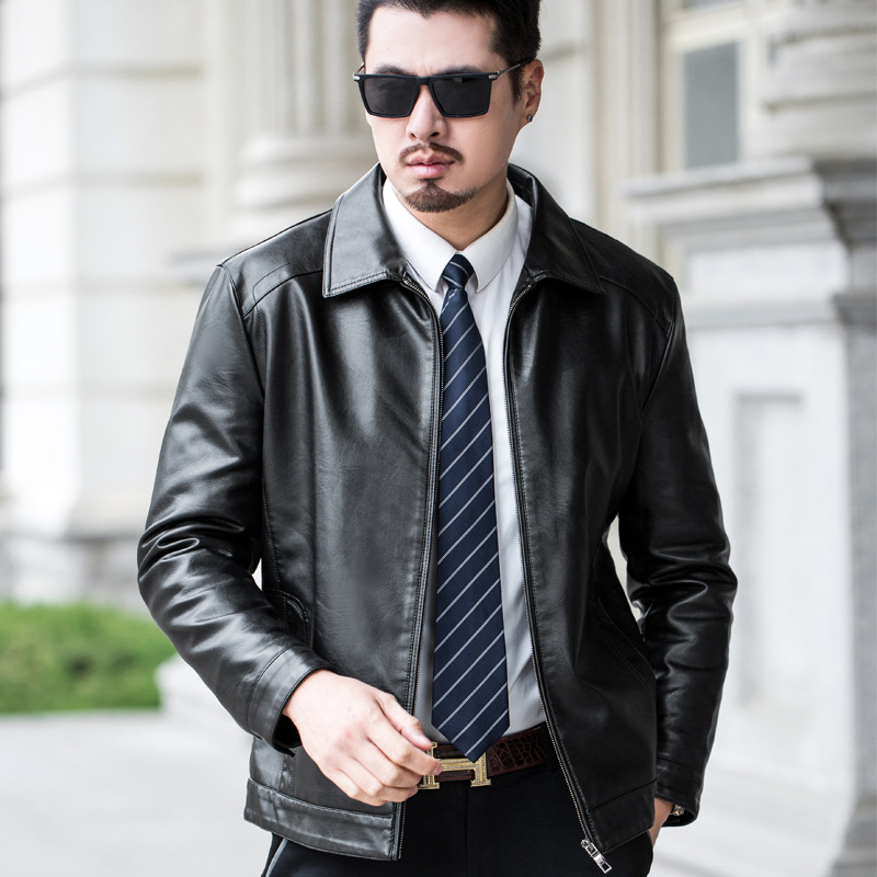 2019 Autumn And Winter New Style Leather Coat Men's Suit Collar Thick Plus Velvet Leather Jacket Handsome Versatile Warm MEN'S C