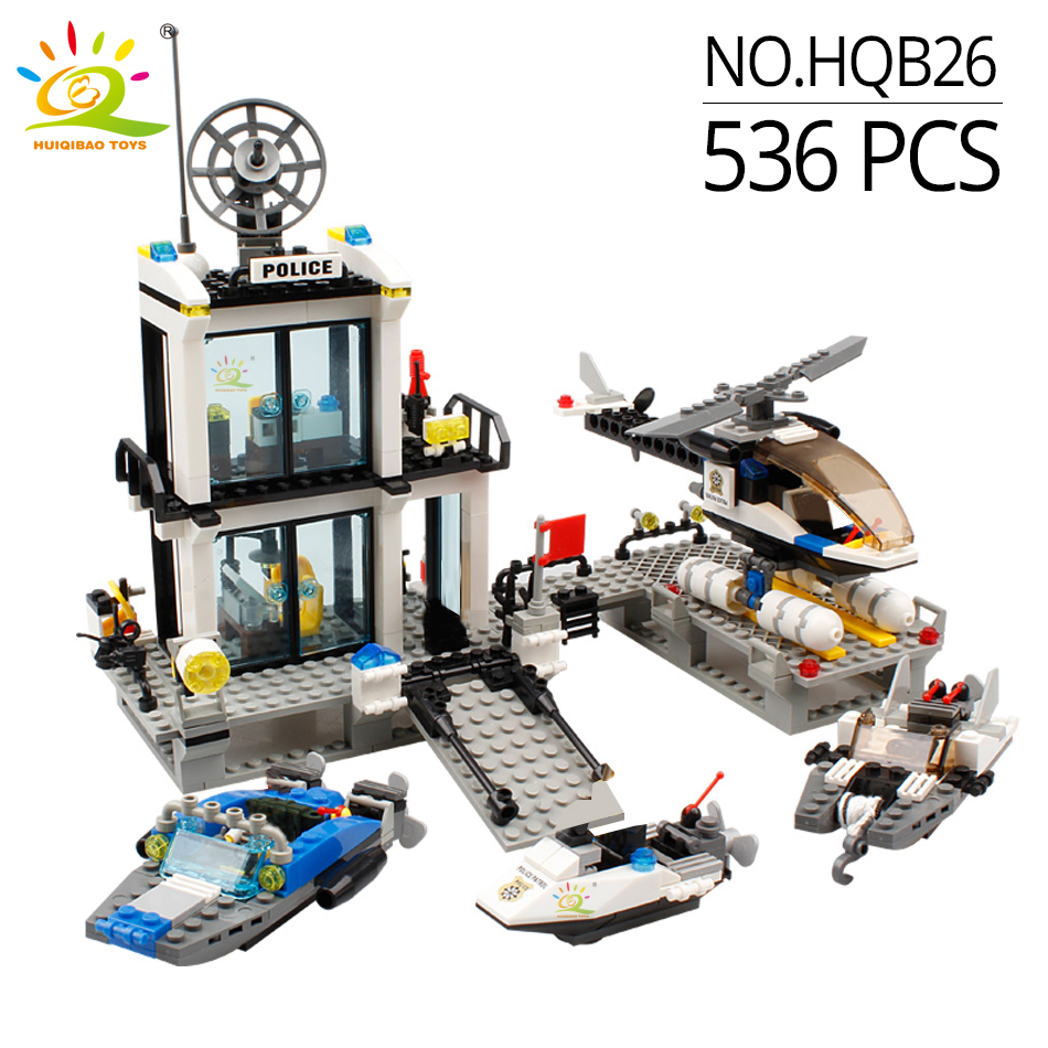 Image 2 - HUIQIBAO 536pcs Police Station Prison Trucks Building Blocks City Car Boat Helicopter policeman Bricks Children Toys KIDS GIFTtoys forblocks policeblocks police station -