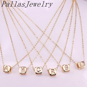 12Pcs Golden Micro Paved CZ A-Z Letter Intitial Square Bead Jewelry Charm Copper Spacer Pendant Charms Necklace