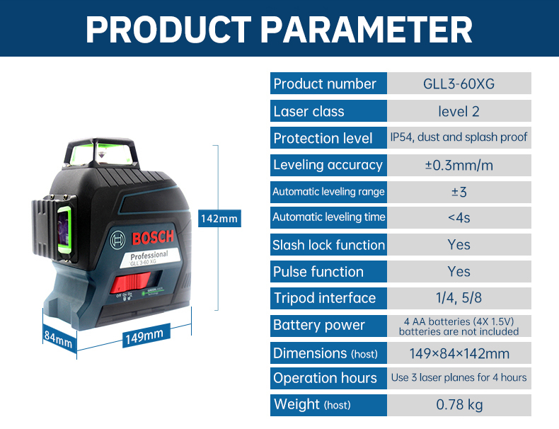 Product parameter of GLL3-60XG