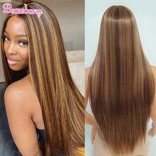 Beauebony resaltar Peluca de encaje Rubia de cabello sintético parte peluca con malla frontal para las mujeres peluca Natural recto barato sintético Peluca de encaje