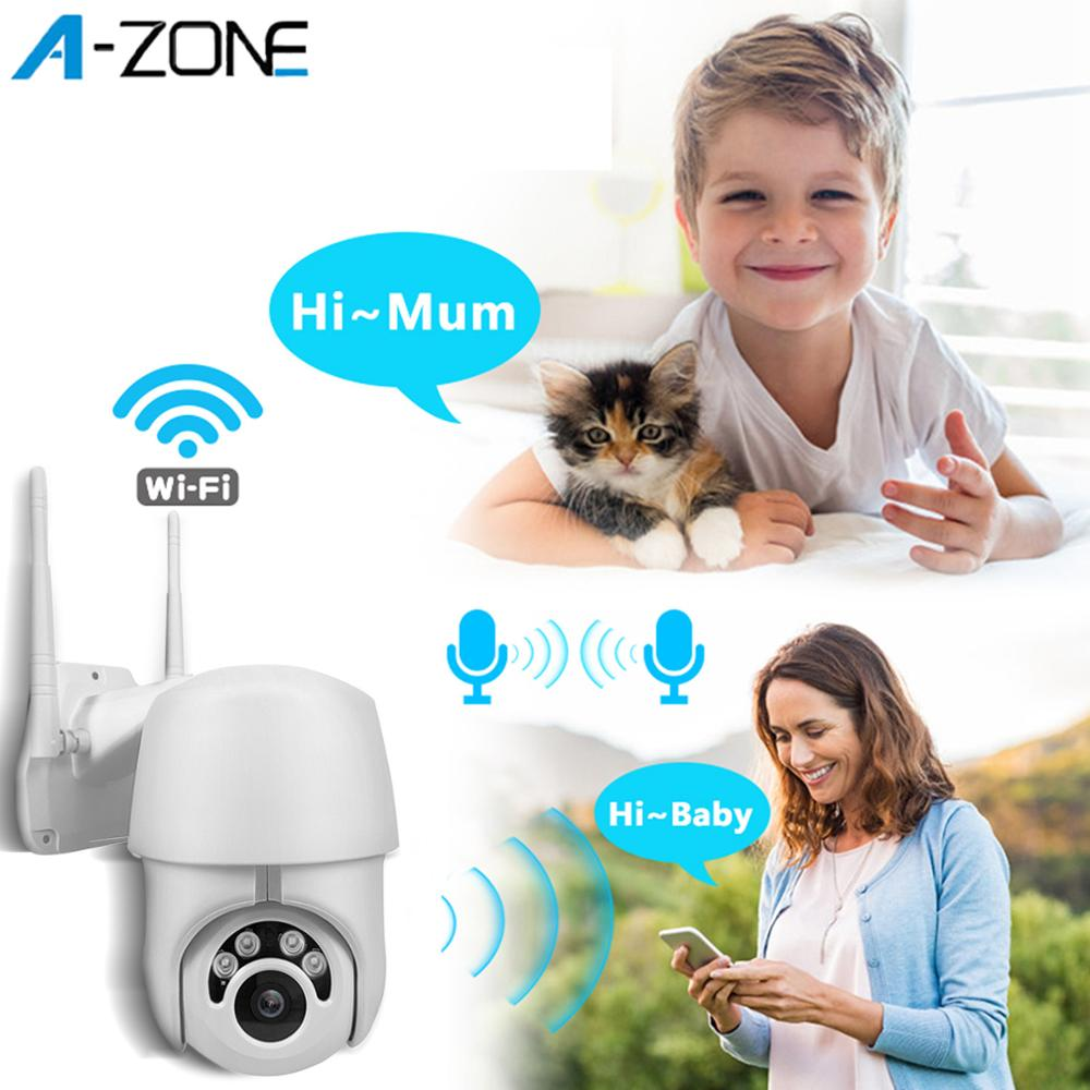 A-ZONE Speed Dome CCTV Outdoor Wifi IP PTZ 360 Camera Waterproof Auto Tracking IR Night Vision 1080P Network Surveilance Camera