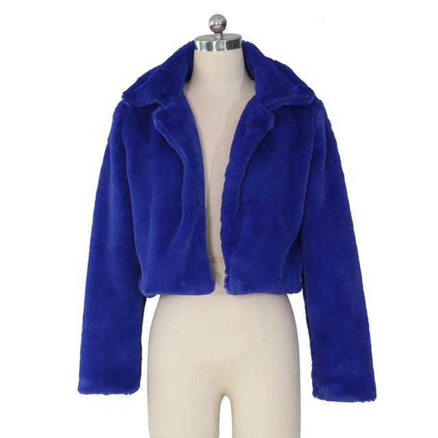 Viifaa Rose Red Solid Open Front Fuzzy Crop Faux Fur Coat Women 2019 Winter Fashion Outerwear Fluffy Fake Fur Coats Jackets