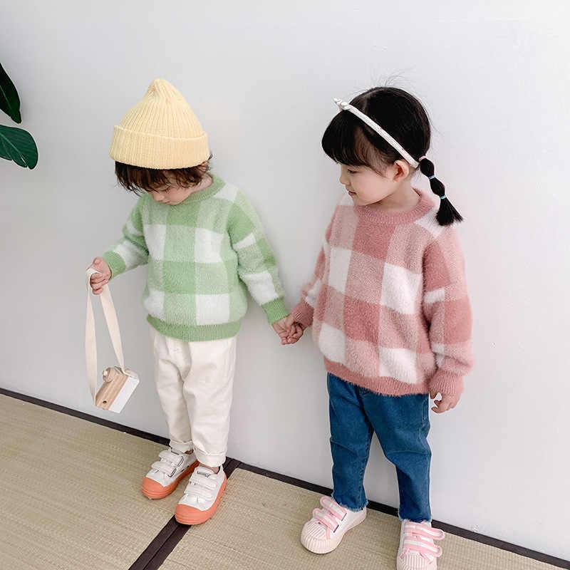 Chen anne çocuğun kazak örme vizon gibi ekose kazak sonbahar ve kış giysileri batı tarzı tembellik tarzı çocuk ceket