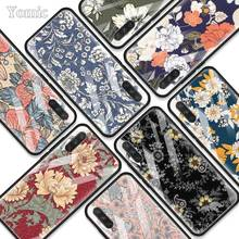 Deep Color Flowers Fashion Art Tempered Glass Phone Case for Xiaomi A3 Lite Redmi Note 7 6 Pro K20 Soft Edge Cover