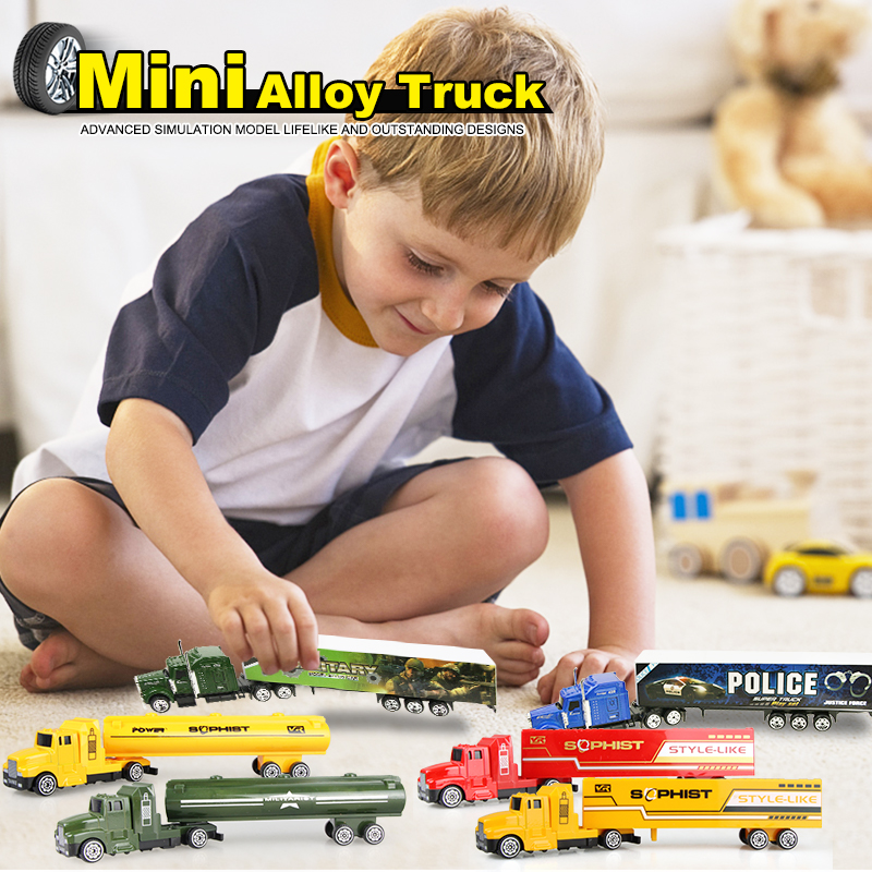 Multi-styles Mini Sliding Alloy Car Model Diecast Disassembled Model Container Oil Truck Children Educational Toys Birthday Gift