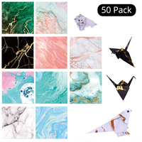 50pc/set Square Origami Paper Marble Folded Paper Bronzing Art Folded Paper Card Making DIY Scrapbooking Paper Craft Decoration|Craft Paper|   -