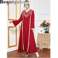 Dubai Dress Modest Sweet Red Floral Embroidery Long Sleeve Arabic Muslim Dresses Oman Holiday Casual Abayas kaftan 2020(China)