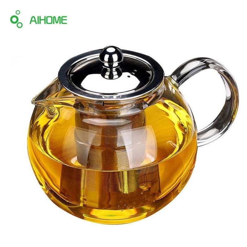 Glass Teapot Kettle Strainer Flower-Tea-Set Coffee Heat-Resistant Stainless-Steel Drinkware-Set
