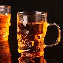 Креативная пивная стеклянная кружка с черепом, 500 мл, Пиратская чашка-партнер, Хрустальное стекло es с ручкой, для питья вина, виски, водки, необходимый бар KTV