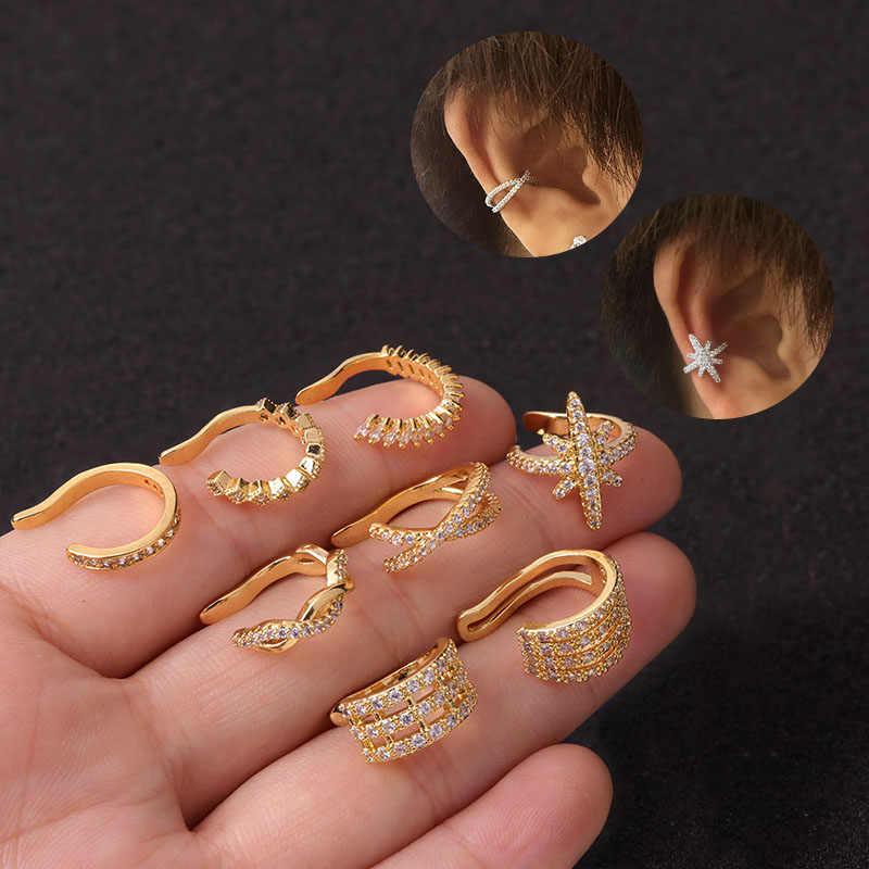 Feelgood, 1 шт., спиральный для хряща, раковины, поддельные украшения для пирсинга, регулируемые Cz манжеты для ушей, без пирсинга, раковины, манжеты, серьги