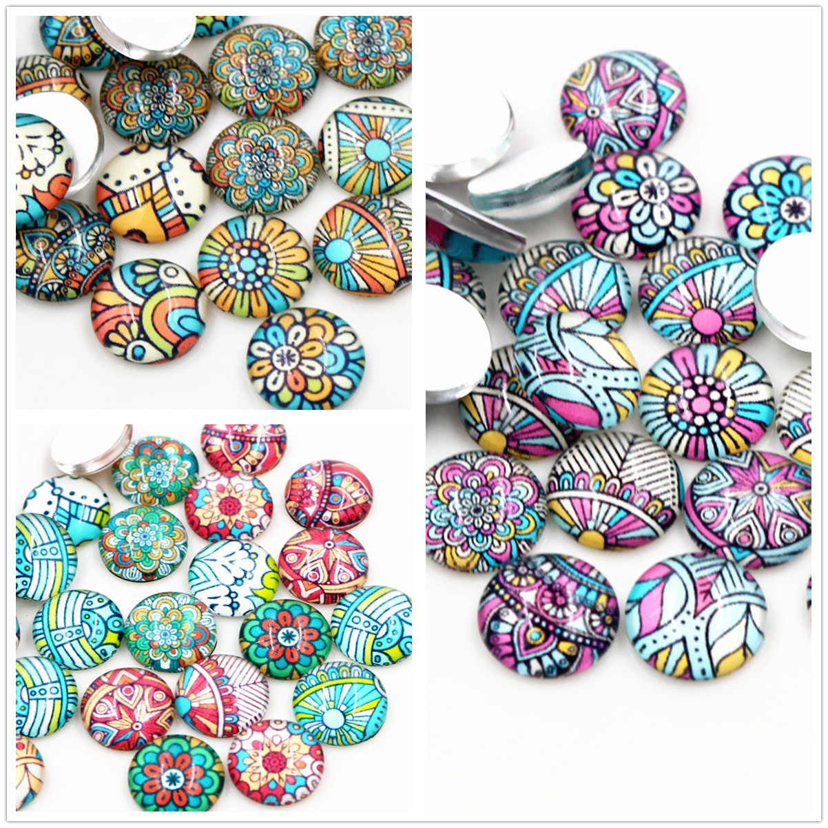 50pcs/Lot 12mm Colorful Pattern Photo Glass Cabochons Mixed Color Cabochons For Bracelet Earrings Necklace Bases Settings