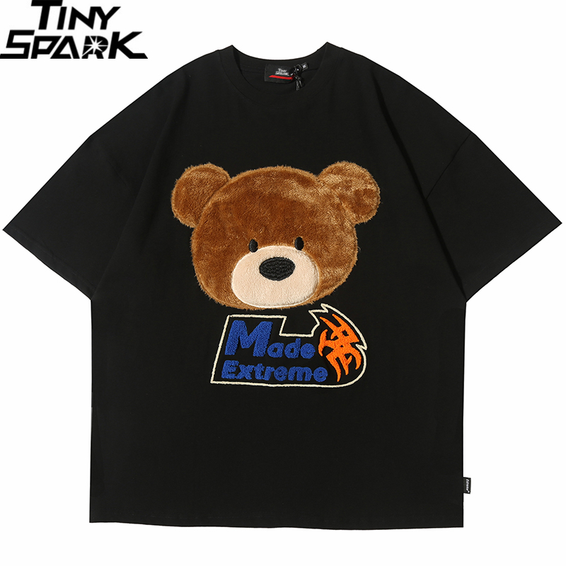 2020 T Shirt Streetwear Men Hip Hop Cartoon Furry Bear T-Shirt Summer Short Sleeve Tshirt Harajuku Cotton Loose Tops Tees Black