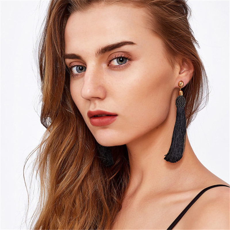 European and American fashion exaggerated Bohemia hand woven ball long tassel earrings in Drop Earrings from Jewelry Accessories