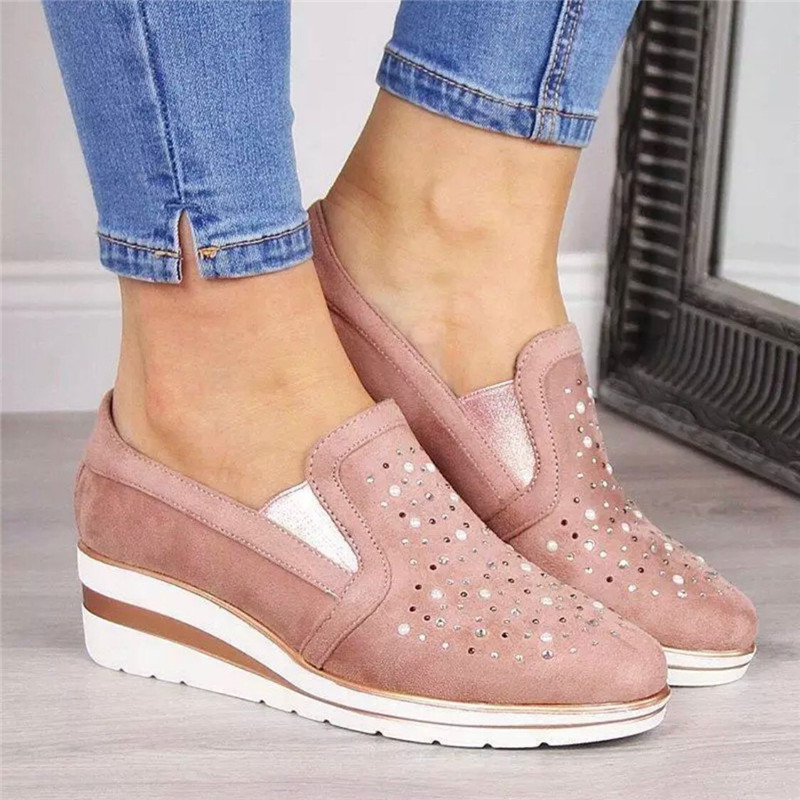 Cow Suede wedges shoes for women 2019 Autumn shoes woman Fashion Bling Slip-On Round Toe casual flat shoes comfortable flats