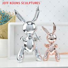 Jeff Koons Balloon Rabbit Art Figurine Craft  Shiny Dog Statue Home Decoration Accessories Xmas Gift Resin