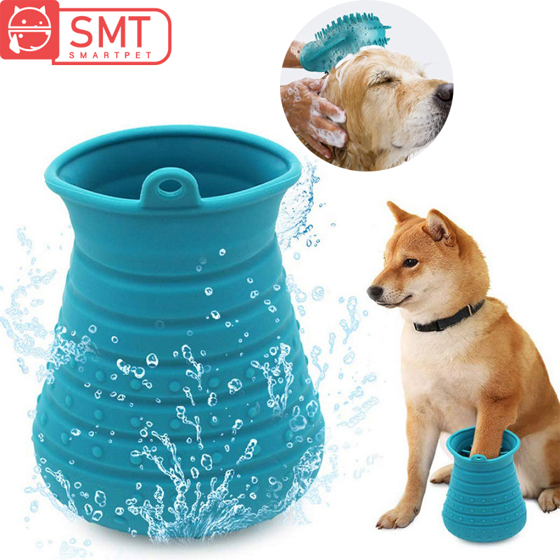 Dirty <font><b>Dog</b></font> <font><b>Paw</b></font> <font><b>Cleaner</b></font> Cup Soft Silicone <font><b>Dogs</b></font> Foot Washer Cup <font><b>Dog</b></font> Cat Bath Brush Glove Grooming Comb Massager Cleaning Brush image